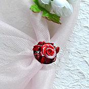 Украшения handmade. Livemaster - original item Red brooch made of coral and polymer clay. Handmade.