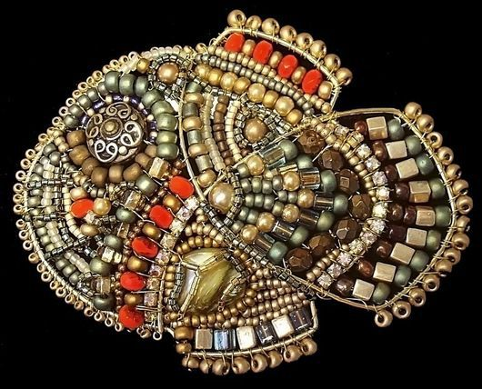 Brooches handmade. Livemaster - handmade. Buy Brooch 'Fish from Aztlan'.Gold, wire, gold