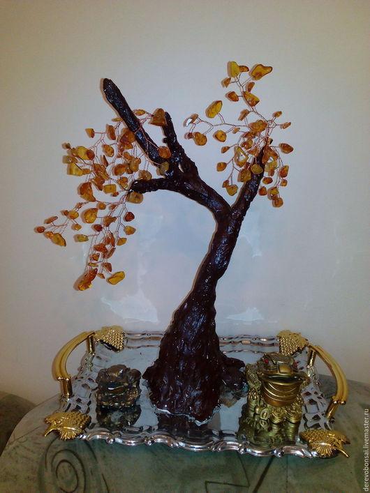 """Персональные подарки ручной работы. Ярмарка Мастеров - ручная работа. Купить Бонсай """"Дерево счастья"""". Handmade. Плавленный янтарь"""
