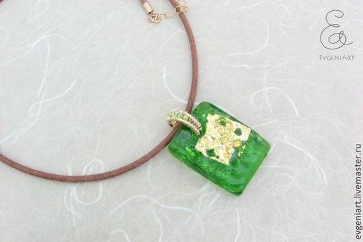 """Кулоны, подвески ручной работы. Ярмарка Мастеров - ручная работа. Купить Подвеска """"Зеленая"""" (голд филл, стекло, бисер MIYUKI). Handmade."""