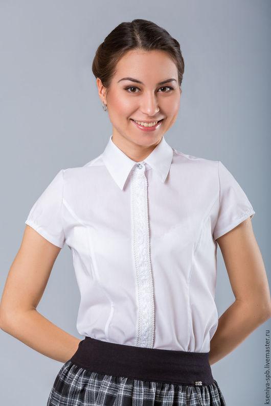 Блузки ручной работы. Ярмарка Мастеров - ручная работа. Купить Школьная форма - белая блузка с коротким рукавом (Арт.41). Handmade.