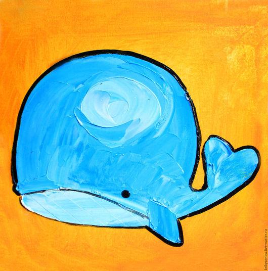Животные ручной работы. Ярмарка Мастеров - ручная работа. Купить Буль-Буль. Handmade. Оранжевый, кит, картина маслом
