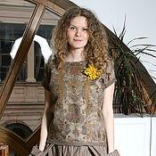 Одежда ручной работы. Ярмарка Мастеров - ручная работа Блузка из шелка и шерсти валяная. Handmade.