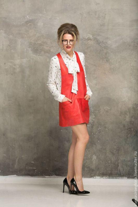 Платья ручной работы. Ярмарка Мастеров - ручная работа. Купить Кожаный сарафан. Handmade. Ярко-красный, красный сарафан