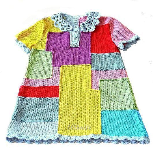 Вязаное детское платье Разноцветные прямоугольники