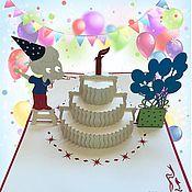 Открытки handmade. Livemaster - original item Greeting cards Girl or boy and cake-Happy Birthday!. Handmade.