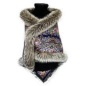 Аксессуары handmade. Livemaster - original item Pavlovo Posad shawl with fur