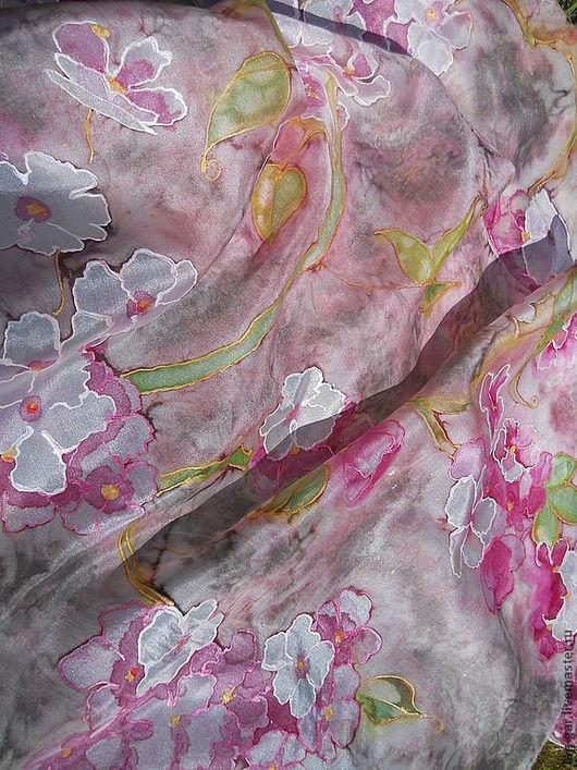 """Шарфы и шарфики ручной работы. Ярмарка Мастеров - ручная работа. Купить Батик шарф  """"Вишневый цвет в бежево-розовой гамме"""". Handmade."""