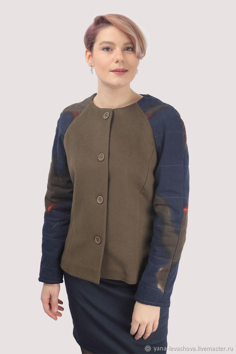 Coat wool with cashmere brown khaki olive short, Coats, Moscow,  Фото №1
