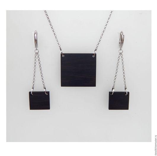 Комплекты украшений ручной работы. Ярмарка Мастеров - ручная работа. Купить Комплект стильных украшений из черного дерева. Handmade. Черный