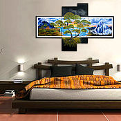 Картины и панно handmade. Livemaster - original item Tree of live Sunset in the Mountains Large Multipanels. Handmade.