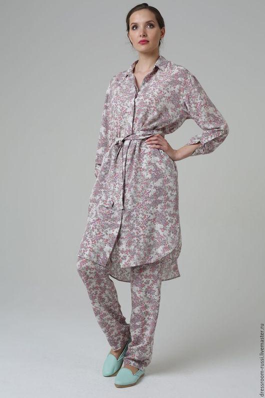 Костюмы ручной работы. Ярмарка Мастеров - ручная работа. Купить Костюм в пижамном стиле с платье-рубашкой.. Handmade. Комбинированный