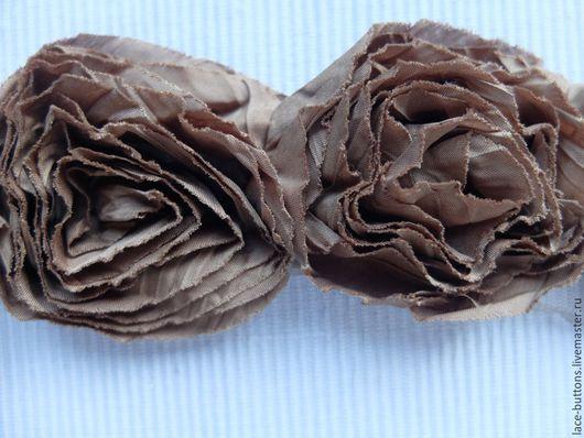 Шитье ручной работы. Ярмарка Мастеров - ручная работа. Купить Объемные цветы коричневого цвета 7см. Handmade. Коричневый