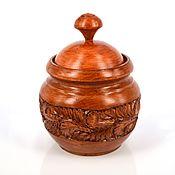 Посуда handmade. Livemaster - original item Jar-pot made of carved wood,