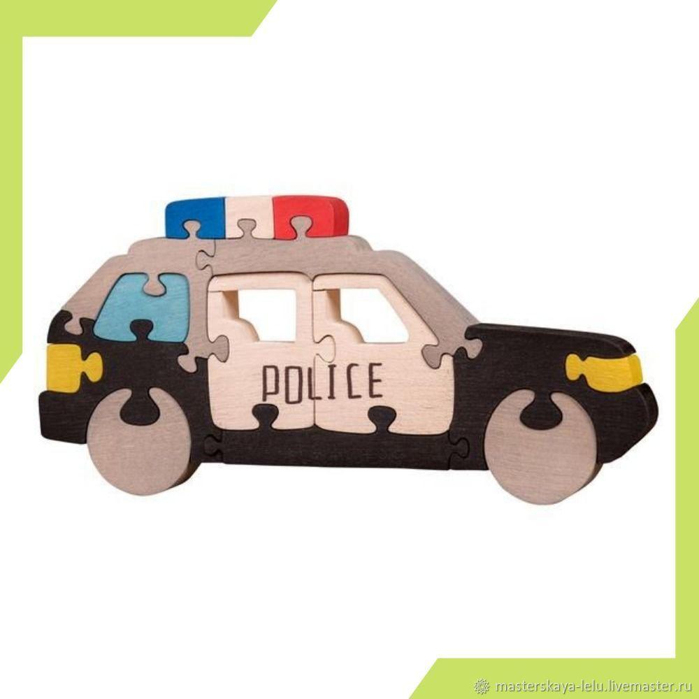 Развивающие игрушки ручной работы. Ярмарка Мастеров - ручная работа. Купить Пазл деревянный Полицейская машина. Handmade. Развивающие игрушки