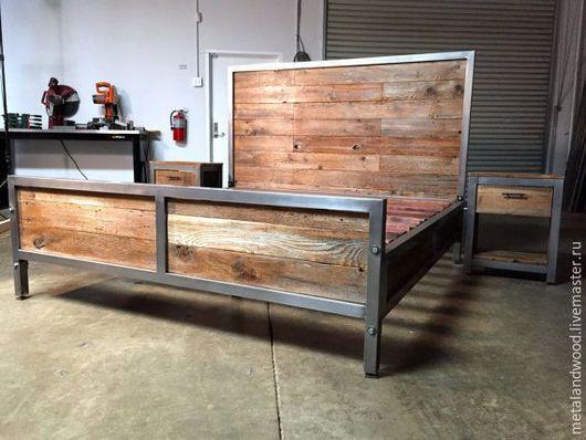 Мебель ручной работы. Ярмарка Мастеров - ручная работа. Купить Кровать в стиле лофт mod.1. Handmade. Лофт