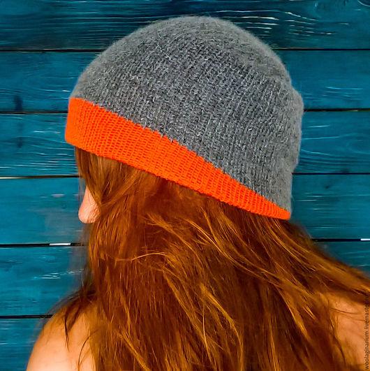 Шапки ручной работы. Ярмарка Мастеров - ручная работа. Купить Двойная двухсторонняя шапочка бини. Handmade. Комбинированный, оранжевый, унисекс
