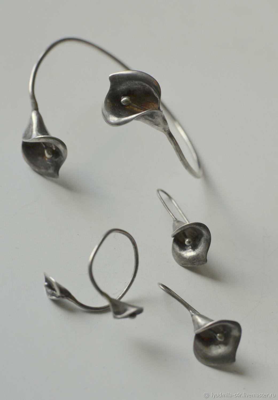Винтаж:  браслет серьги кольцо каллы 925 серебро, Комплекты украшений винтажные, Колпино,  Фото №1