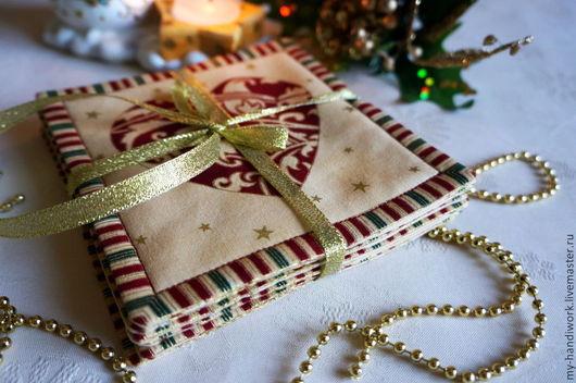 """Новый год 2017 ручной работы. Ярмарка Мастеров - ручная работа. Купить Салфетки """"Рождественские пожелания"""". Handmade. Комплект салфеток"""