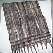 Аксессуары handmade. Livemaster - original item Felted scarf black/W beige-brown. Handmade.