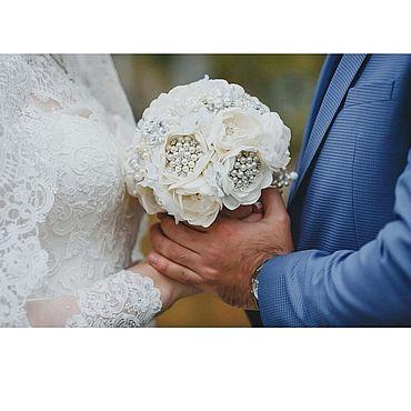 Свадебный салон ручной работы. Ярмарка Мастеров - ручная работа Айвори Свадебный брошь букет невесты из ткани и брошей пионовые цветы. Handmade.