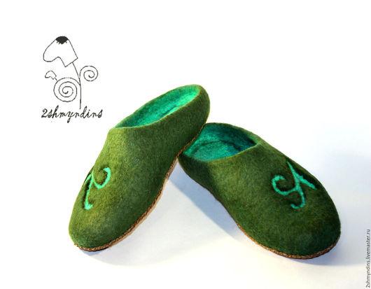 Обувь ручной работы. Ярмарка Мастеров - ручная работа. Купить тапочки валяные Малахитовый рай. Handmade. Валяные тапочки