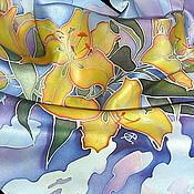 """Аксессуары ручной работы. Ярмарка Мастеров - ручная работа Шелковый платок """"Вальс лилий"""". Батик. Handmade."""