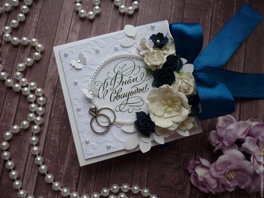 """Конверты для денег ручной работы. Ярмарка Мастеров - ручная работа. Купить Свадебная коробочка для денег """"Сине-белая свадьба"""". Handmade."""
