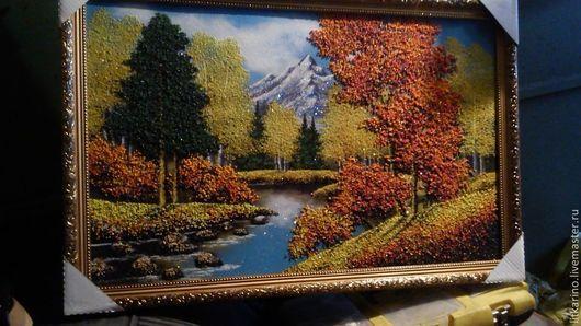 Пейзаж ручной работы. Ярмарка Мастеров - ручная работа. Купить Осень в горах. Handmade. Рыжий, малахит