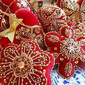 Подарки к праздникам ручной работы. Ярмарка Мастеров - ручная работа Игрушки на елку мягкие, из бархата с вышивкой (большой набор). Handmade.