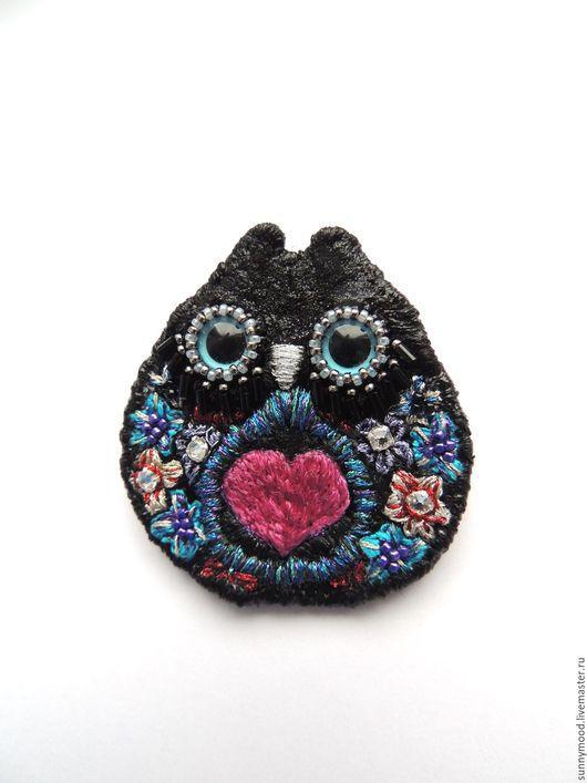 Броши ручной работы. Ярмарка Мастеров - ручная работа. Купить брошь OWL. Handmade. Тёмно-фиолетовый, сова, птица, бисер