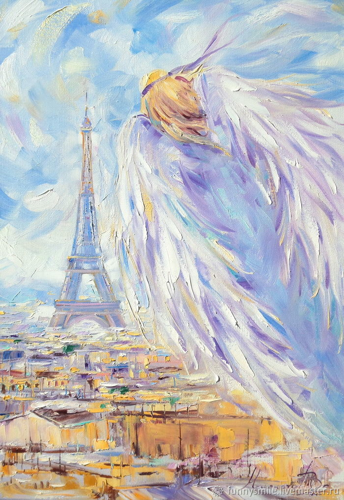 Oil painting on canvas. Lavender angel over Paris, Pictures, Moscow,  Фото №1