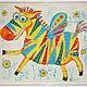 """Этно ручной работы. Ярмарка Мастеров - ручная работа. Купить Разноцветная зебра """"Радость"""". Handmade. Батик, картина, этностиль, шёлк"""