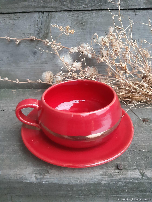 Red tea pair, Single Tea Sets, Bobrov,  Фото №1