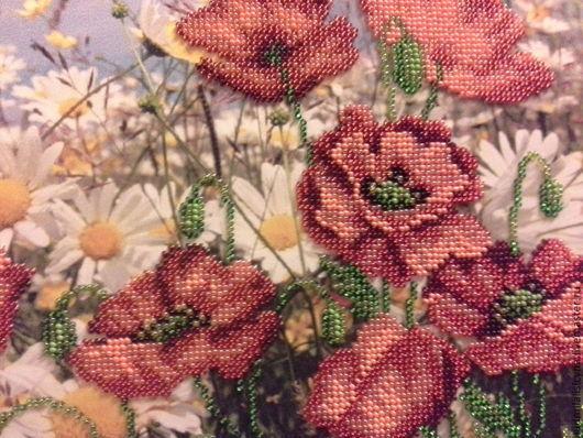 """Картины цветов ручной работы. Ярмарка Мастеров - ручная работа. Купить вышивка бисером """"Маки"""". Handmade. Бисер, картина для интерьера"""