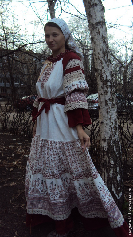 """Платья ручной работы. Ярмарка Мастеров - ручная работа. Купить Платье """"Макошь"""" многослойное с кружевом. Handmade. Орнамент, славянский костюм"""