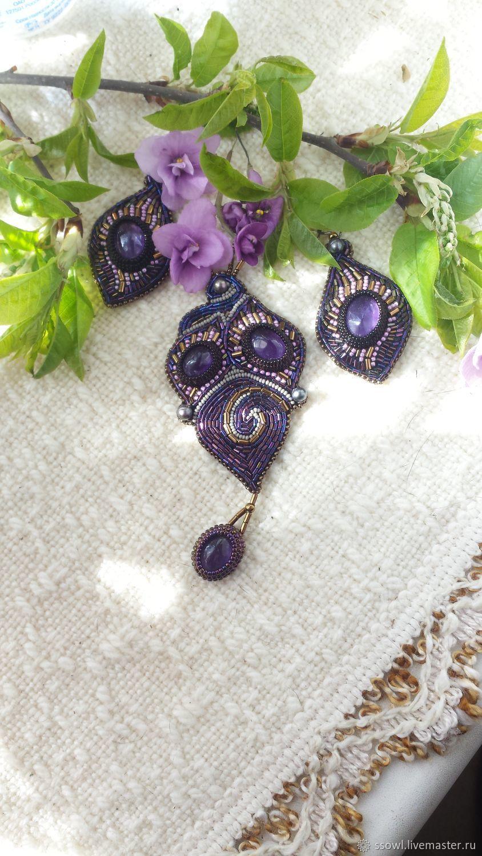 Pendant with pendant-lilac Natur. amethyst, purple beads, pearls, Pendant, Bryansk,  Фото №1