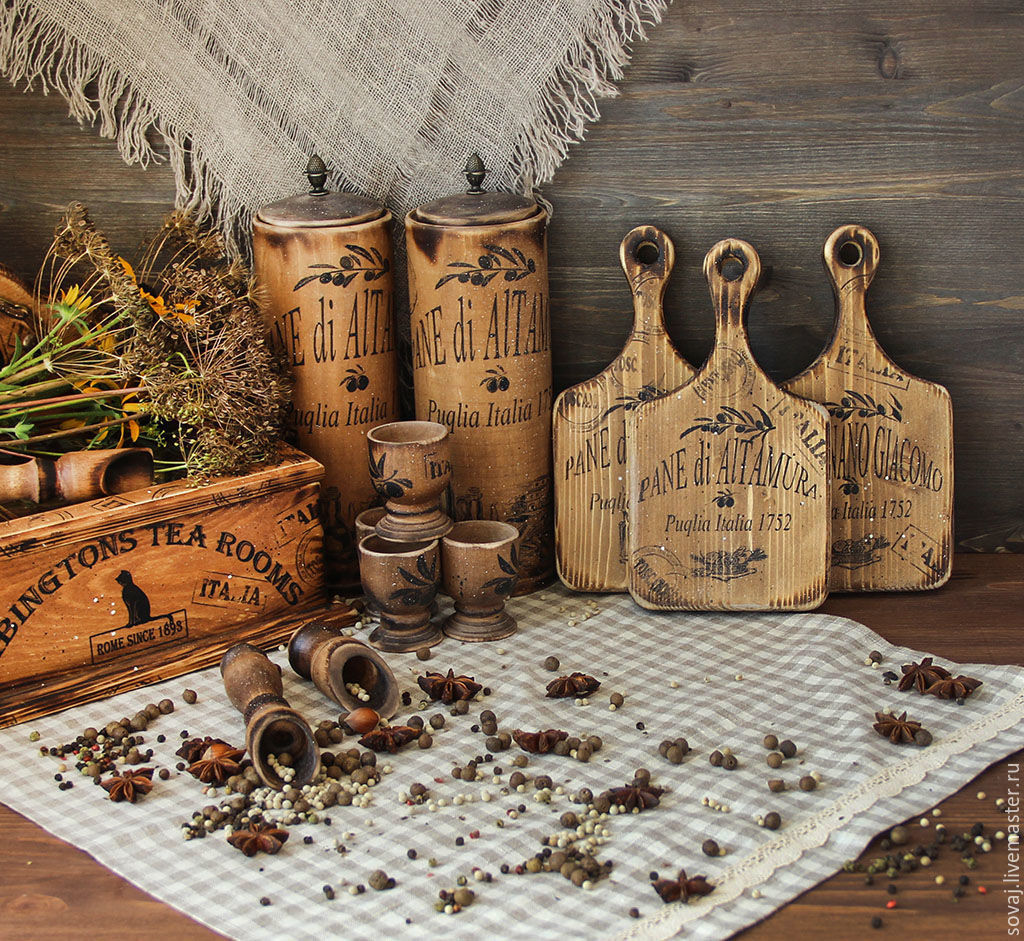 A set of cutting/cheese boards pine 'the Legend of Puglia', Cutting Boards, ,  Фото №1
