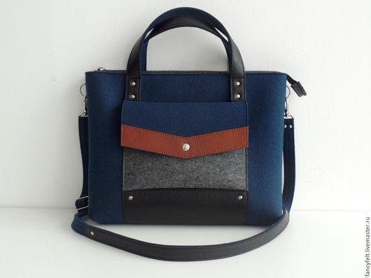 Женские сумки ручной работы. Ярмарка Мастеров - ручная работа. Купить Темно-синяя сумка-портфель из фетра и натуральной кожи. Handmade.