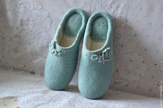 """Обувь ручной работы. Ярмарка Мастеров - ручная работа. Купить Валяные тапочки """"Мятные"""". Handmade. Мятный"""