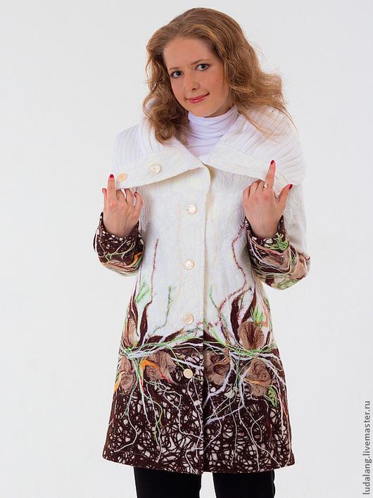 """Верхняя одежда ручной работы. Ярмарка Мастеров - ручная работа. Купить Пальто белое """"Первые заморозки"""". Handmade. Белый"""