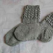 Аксессуары ручной работы. Ярмарка Мастеров - ручная работа Шерстяные носки с ажурным узором. Handmade.