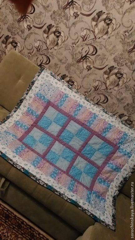 Пледы и одеяла ручной работы. Ярмарка Мастеров - ручная работа. Купить лоскутное одеяло. Handmade. Голубой, одеяло детское