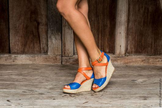 Обувь ручной работы. Ярмарка Мастеров - ручная работа. Купить Босоножки из натруальной кожи Fiona. Handmade. Синий, обувь на заказ