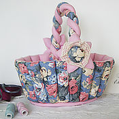 Для дома и интерьера handmade. Livemaster - original item Textile basket. Gift, for needlework, for small things. Handmade.