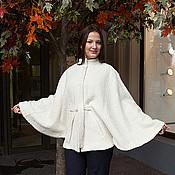 Одежда ручной работы. Ярмарка Мастеров - ручная работа Куртка-пончо - пальтовая ткань, на подкладке - белый. Handmade.