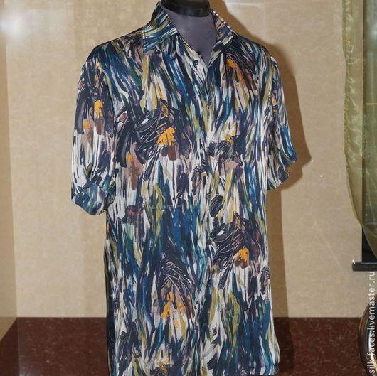 Для мужчин, ручной работы. Ярмарка Мастеров - ручная работа. Купить Рубашка мужская шёлковая. Handmade. Цветочный, мужская одежда