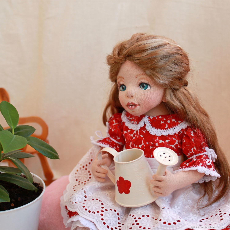 Коллекционная текстильная кукла Людмила в красном платье, Куклы и пупсы, Тюмень,  Фото №1