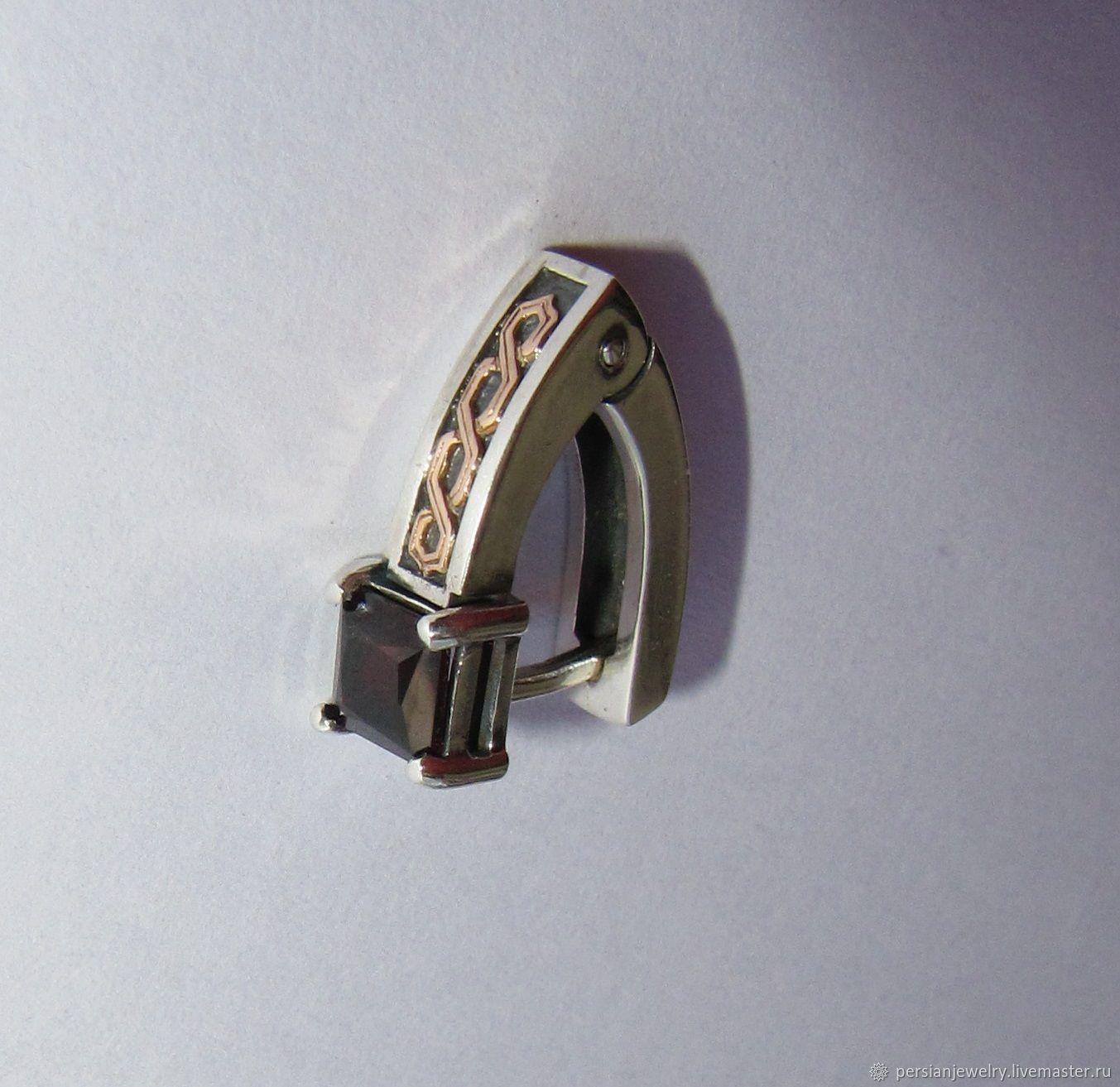 Silver mono earring with rauchtopaz, Single earring, Sevastopol,  Фото №1