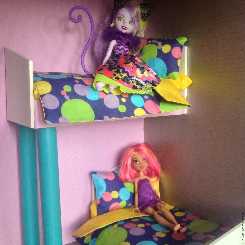 Как сделать для кукол двухэтажную кровать из картона